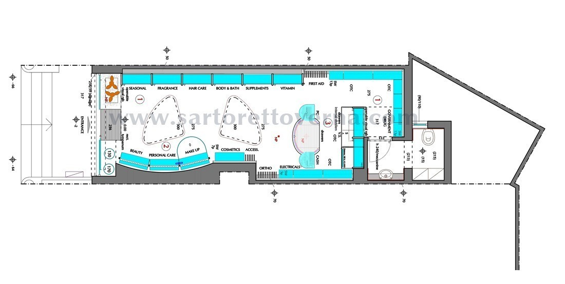 Small pharmacy layout by sartoretto verna for Pharmacy design floor plans