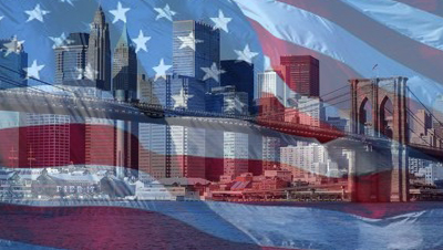 brooklyn bridge w america flag