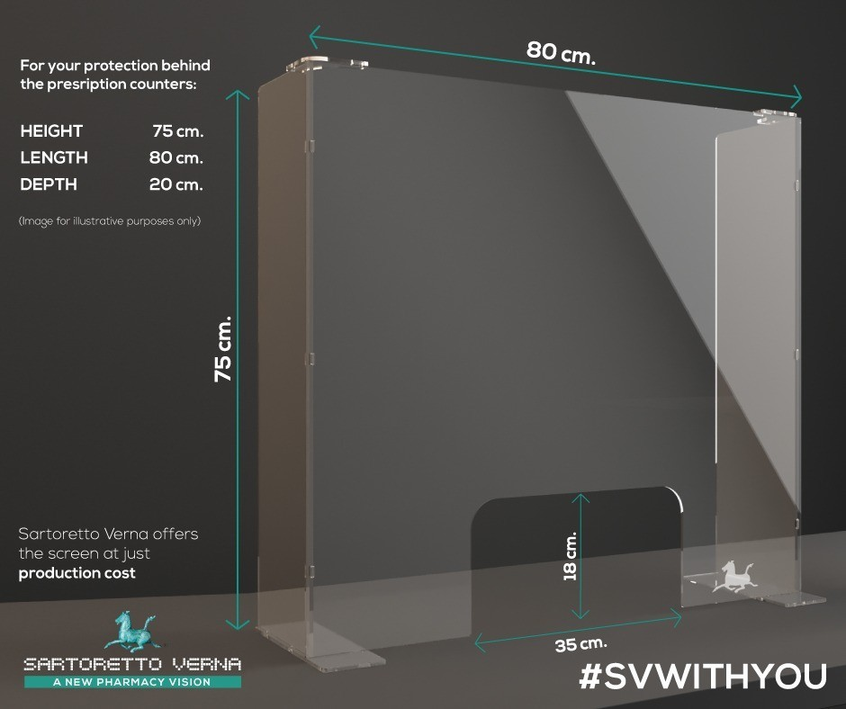 Transparent screen for counter